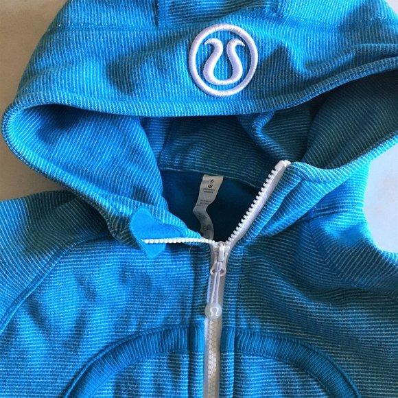 Lululemon blue stripe scuba hoodie w/ thumbholes